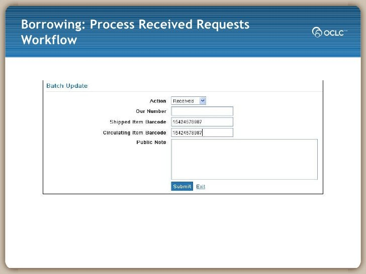 Borrowing: Process Received Requests Workflow