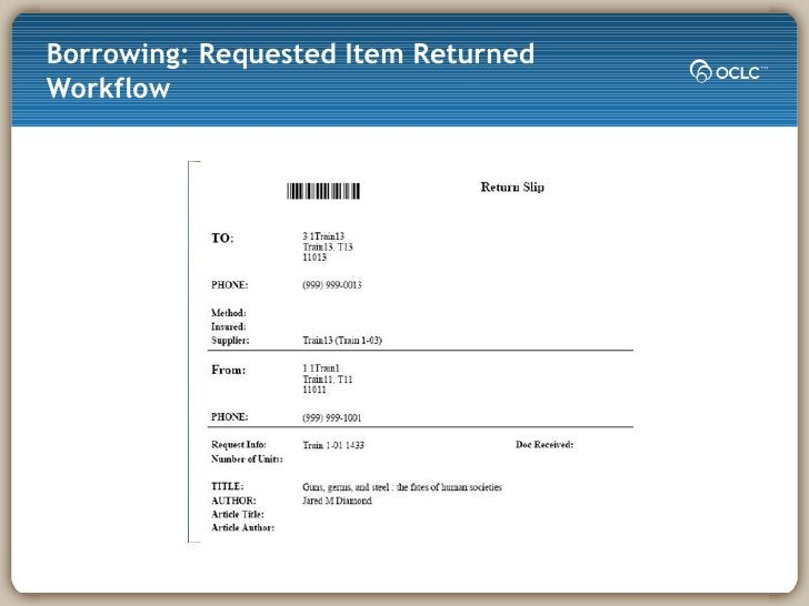 Borrowing: Requested Item Returned Workflow
