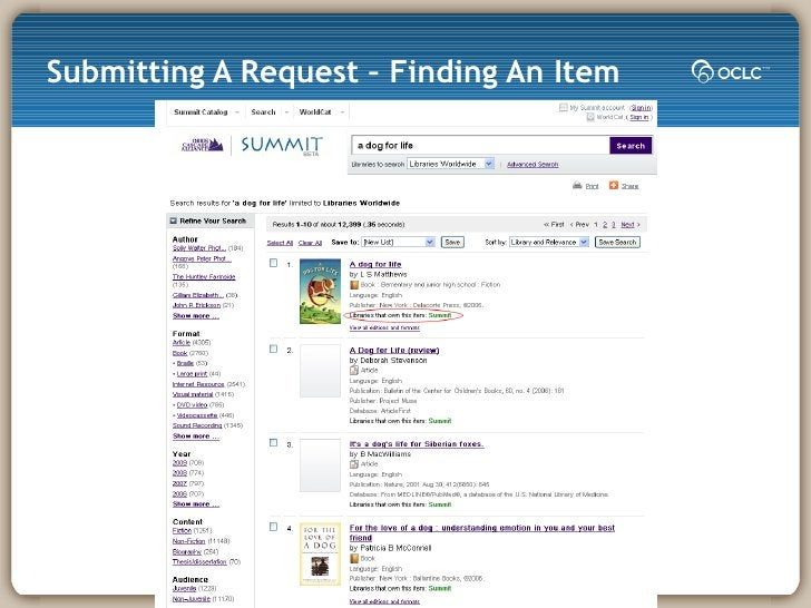 Submitting A Request – Finding An Item