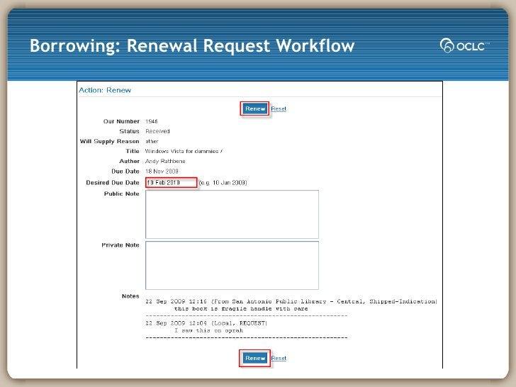 Borrowing: Renewal Request Workflow