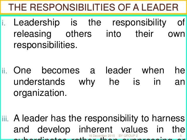 THE FUNDAMENTALS IN LEADERSHIP