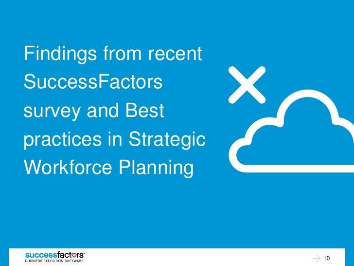 Findings from recentSuccessFactorssurvey and Bestpractices in StrategicWorkforce Planning                         10