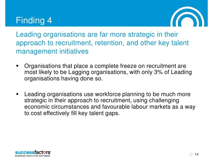 Finding 4Leading organisations are far more strategic in theirapproach to recruitment, retention, and other key talentmana...