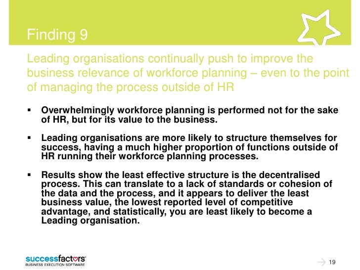 Finding 9Leading organisations continually push to improve thebusiness relevance of workforce planning – even to the point...
