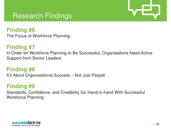 Research FindingsFinding #6The Focus of Workforce PlanningFinding #7In Order for Workforce Planning to Be Successful, Orga...