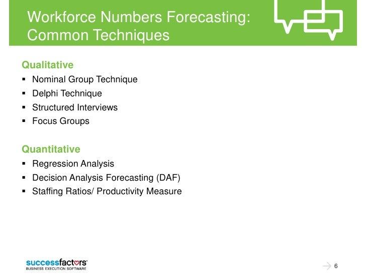 Workforce Numbers Forecasting: Common TechniquesQualitative Nominal Group Technique Delphi Technique Structured Intervi...