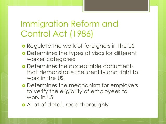 Immigration reform and control act essay