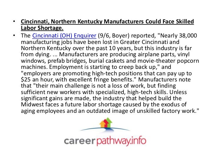 • Cincinnati, Northern Kentucky Manufacturers Could Face Skilled  Labor Shortage.• The Cincinnati (OH) Enquirer (9/6, Boye...