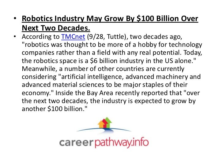 • Robotics Industry May Grow By $100 Billion Over  Next Two Decades.• According to TMCnet (9/28, Tuttle), two decades ago,...
