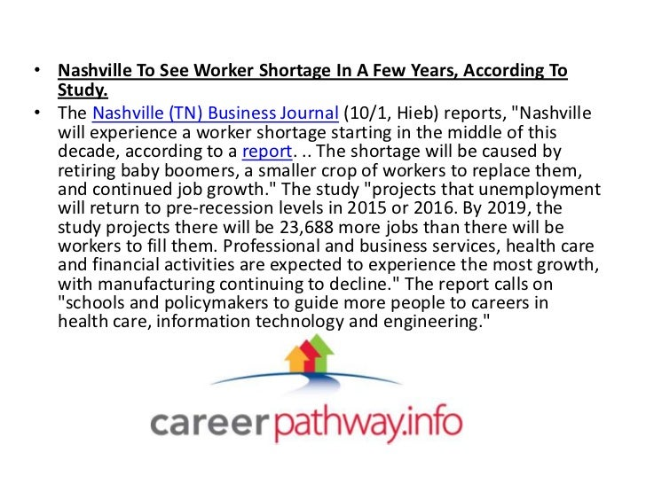 • Nashville To See Worker Shortage In A Few Years, According To  Study.• The Nashville (TN) Business Journal (10/1, Hieb) ...