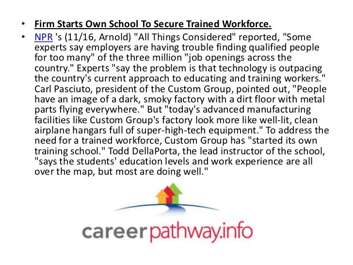 """• Firm Starts Own School To Secure Trained Workforce.• NPR s (11/16, Arnold) """"All Things Considered"""" reported, """"Some  expe..."""