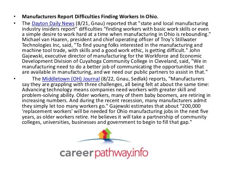 """•   Manufacturers Report Difficulties Finding Workers In Ohio.•   The Dayton Daily News (8/21, Gnau) reported that """"state ..."""