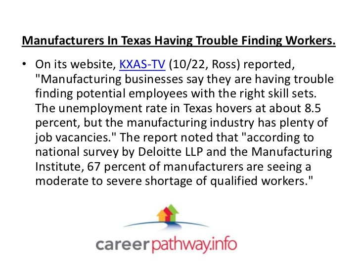 """Manufacturers In Texas Having Trouble Finding Workers.• On its website, KXAS-TV (10/22, Ross) reported,  """"Manufacturing bu..."""