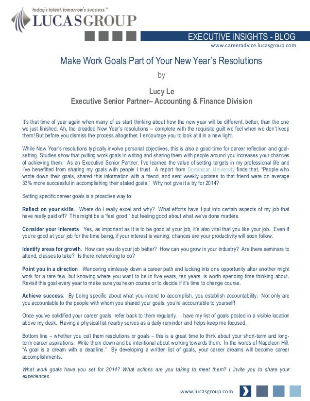 what specific goals have you established for your career