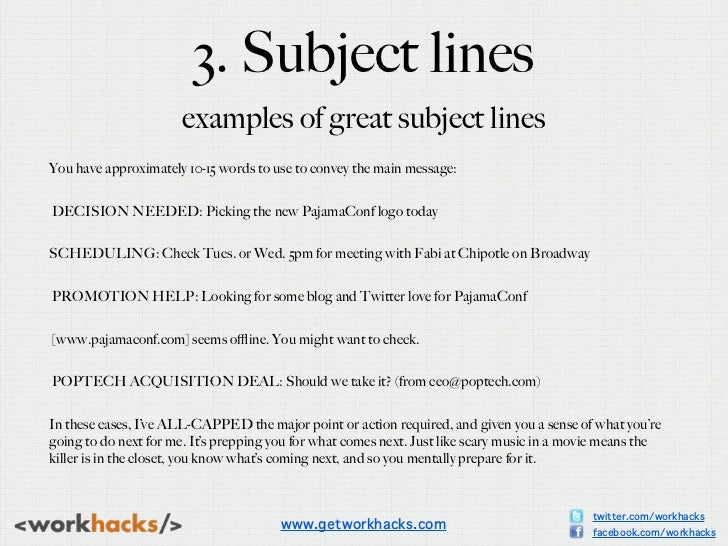 3 Subject Lines Examples Of