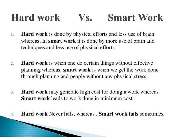 Hard work vs smart work presentation