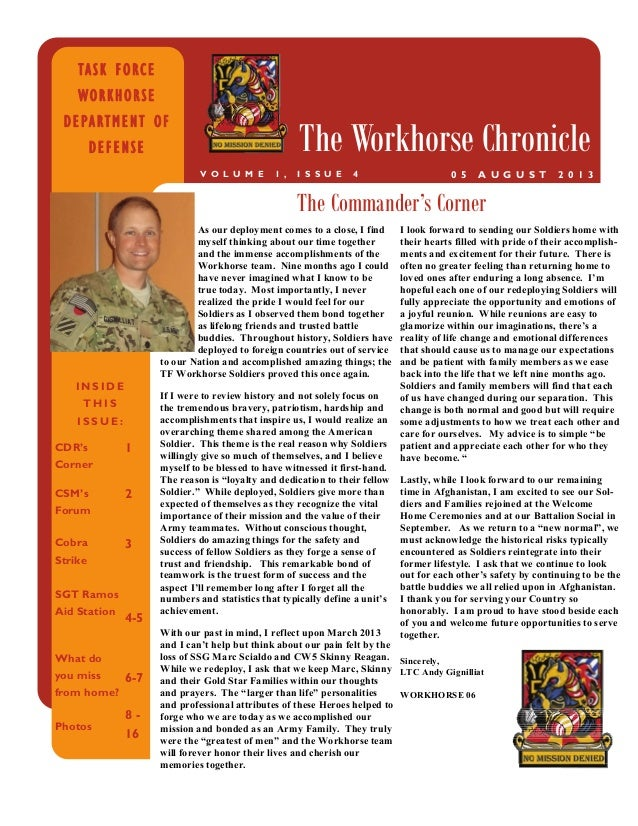 INSIDE THIS ISSUE: CDR's Corner 1 CSM's Forum 2 Cobra Strike SGT Ramos Aid Station 3 4-5 What do you miss from home? Photo...