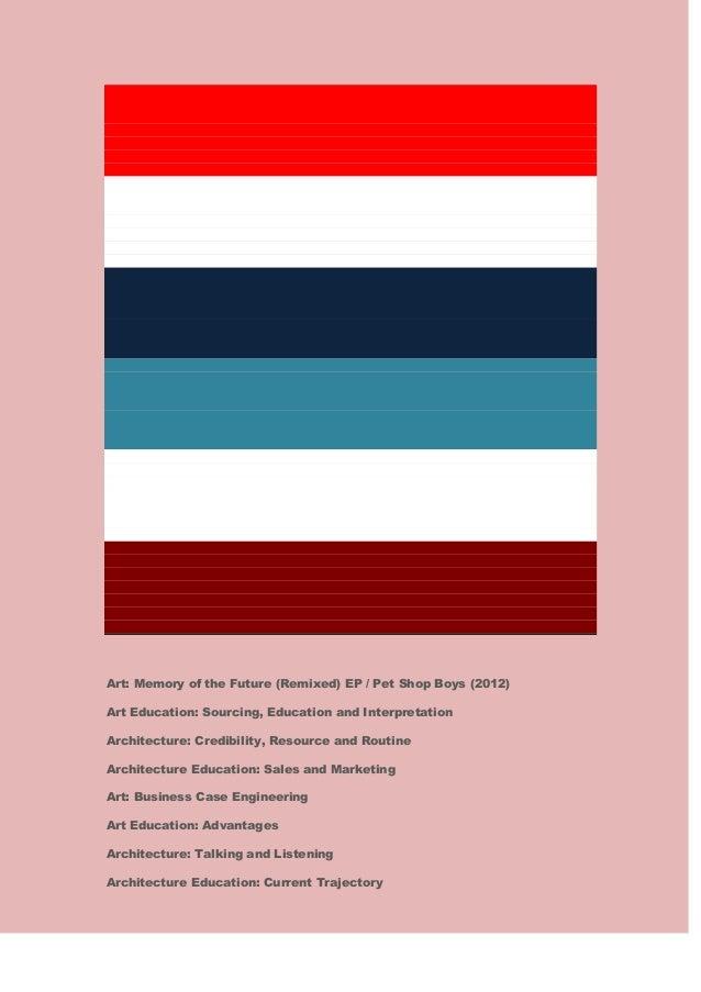 Art: Memory of the Future (Remixed) EP / Pet Shop Boys (2012) Art Education: Sourcing, Education and Interpretation Archit...