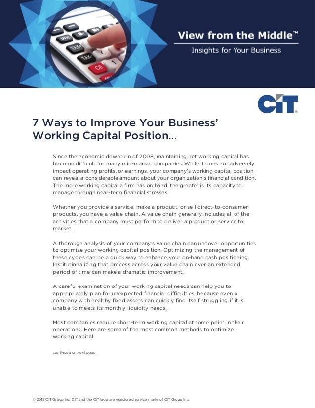 how to improve working capital