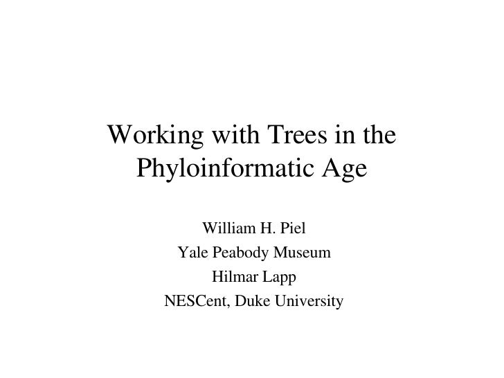 Working with Trees in the Phyloinformatic Age William H. Piel Yale Peabody Museum Hilmar Lapp NESCent, Duke University