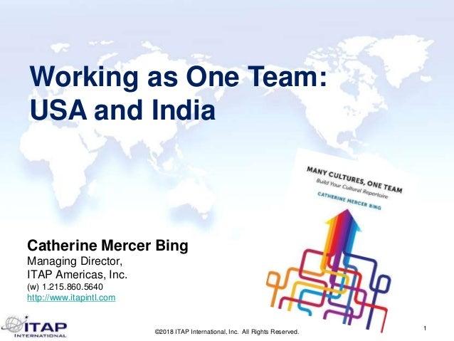 Catherine Mercer Bing Managing Director, ITAP Americas, Inc. (w) 1.215.860.5640 http://www.itapintl.com 1 ©2018 ITAP Inter...