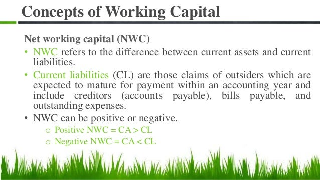 Concepts of Working Capital Net working capital (NWC) • NWC refers to the difference between current assets and current li...