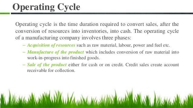 Operating Cycle Operating cycle is the time duration required to convert sales, after the conversion of resources into inv...