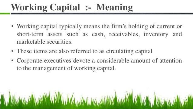 Working capital Slide 2