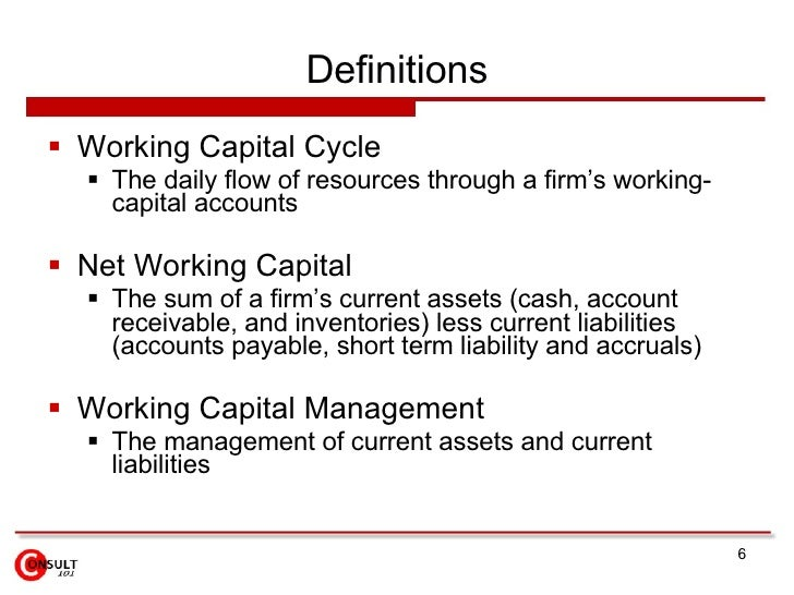 meaning of working capital essay Working capital may be regarded as the life blood of business working capital is of major importance to internal and external analysis because of its close relationship with the current day-to-day operations of a business.