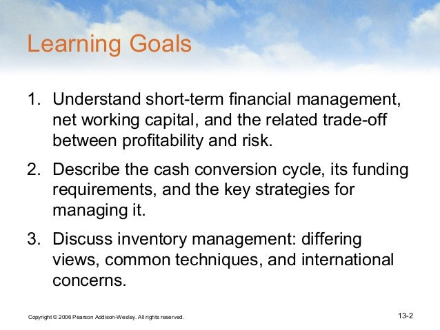 managing capital and financial assets Moreovermanaging capital and financial assets 10 obtaining the working capital the working capital is the operating finances which assist running of the business and gives the daily financial status of the organization depending on the available assets and liabilities (preve & sarria-allende.