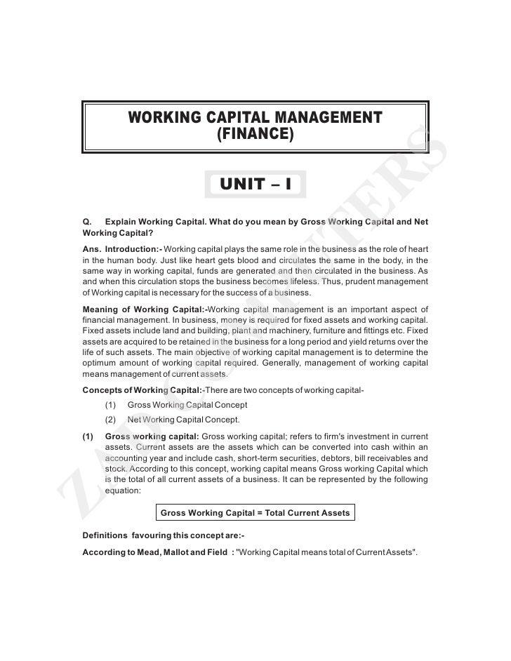 WORKING CAPITAL MANAGEMENT                      (FINANCE)                                                                 ...