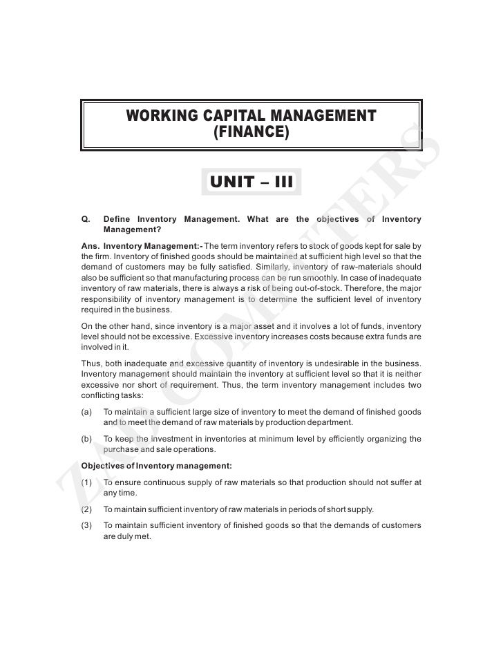 sources of finance and working capital management finance essay Corporate finance is the area of finance dealing with the sources of funding and the ongoing business operations is referred to as working capital management.