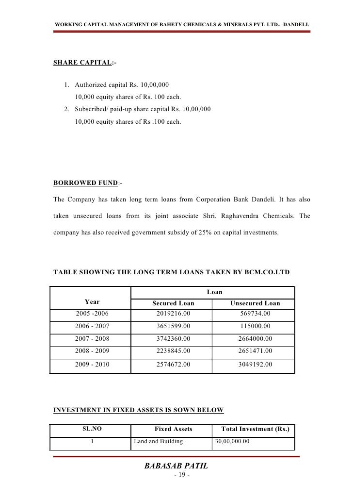 WORKING CAPITAL MANAGEMENT OF BAHETY CHEMICALS & MINERALS PVT. LTD., DANDELI.SHARE CAPITAL:-   1. Authorized capital Rs. 1...