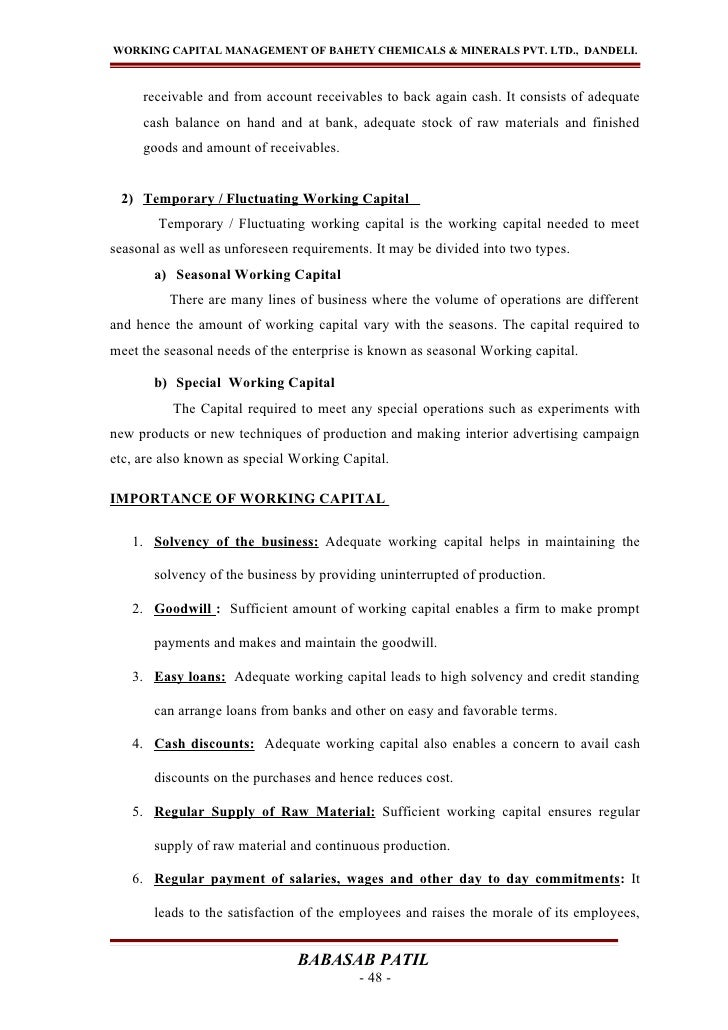 WORKING CAPITAL MANAGEMENT OF BAHETY CHEMICALS & MINERALS PVT. LTD., DANDELI.     receivable and from account receivables ...