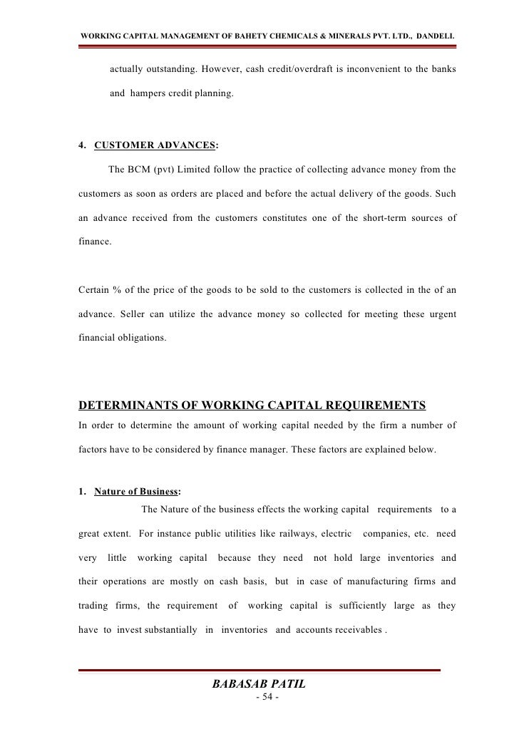 WORKING CAPITAL MANAGEMENT OF BAHETY CHEMICALS & MINERALS PVT. LTD., DANDELI.       actually outstanding. However, cash cr...