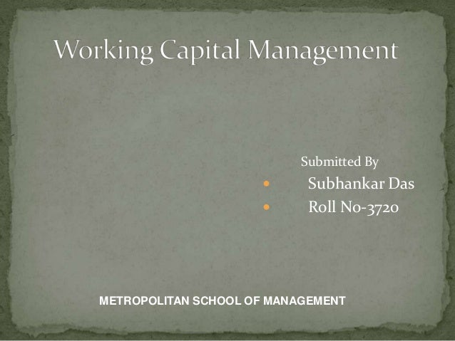 Submitted By  Subhankar Das  Roll No-3720 METROPOLITAN SCHOOL OF MANAGEMENT