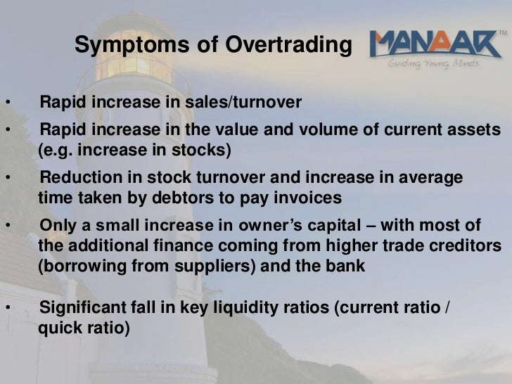 overtrading finance and capital 31 forms of finance finance means:  the company is showing the symptoms of overtrading the companys working capital has been -1192 in the fy 2010-11 and.