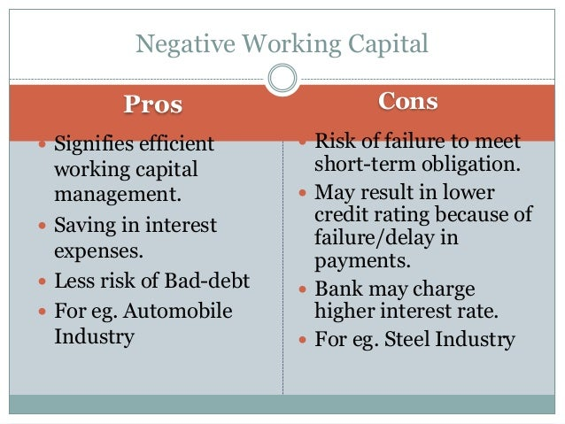 Pros Cons  Signifies efficient working capital management.  Saving in interest expenses.  Less risk of Bad-debt  For e...