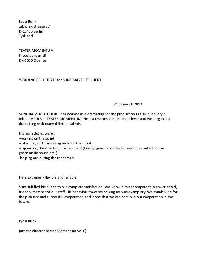 Working Certificate Sune Teichert