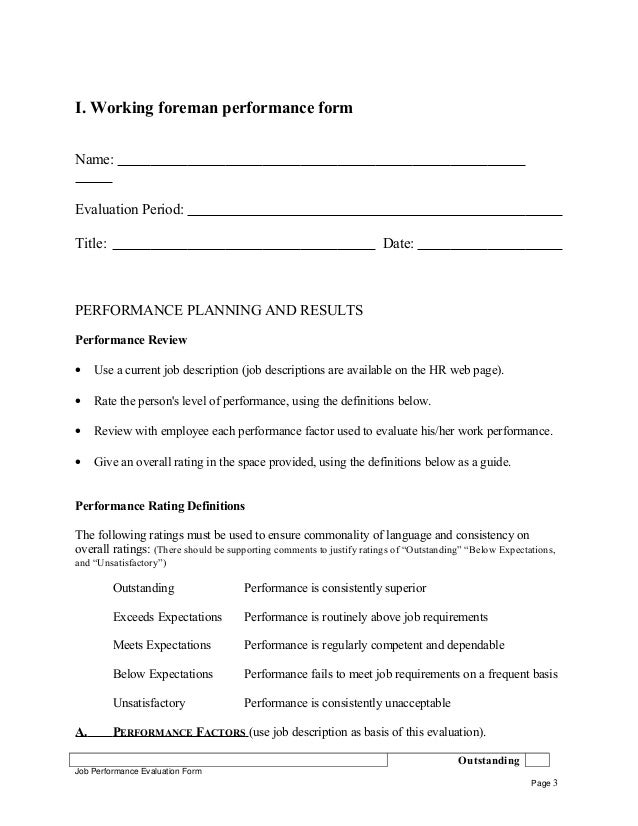 Working foreman performance appraisal – Work Performance Evaluation