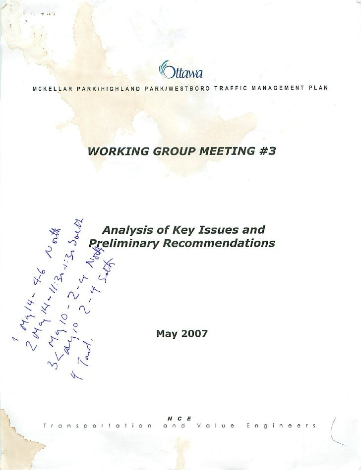 Working Group Meeting 3 - Analysis of Key Issues and Preliminary Recommendations