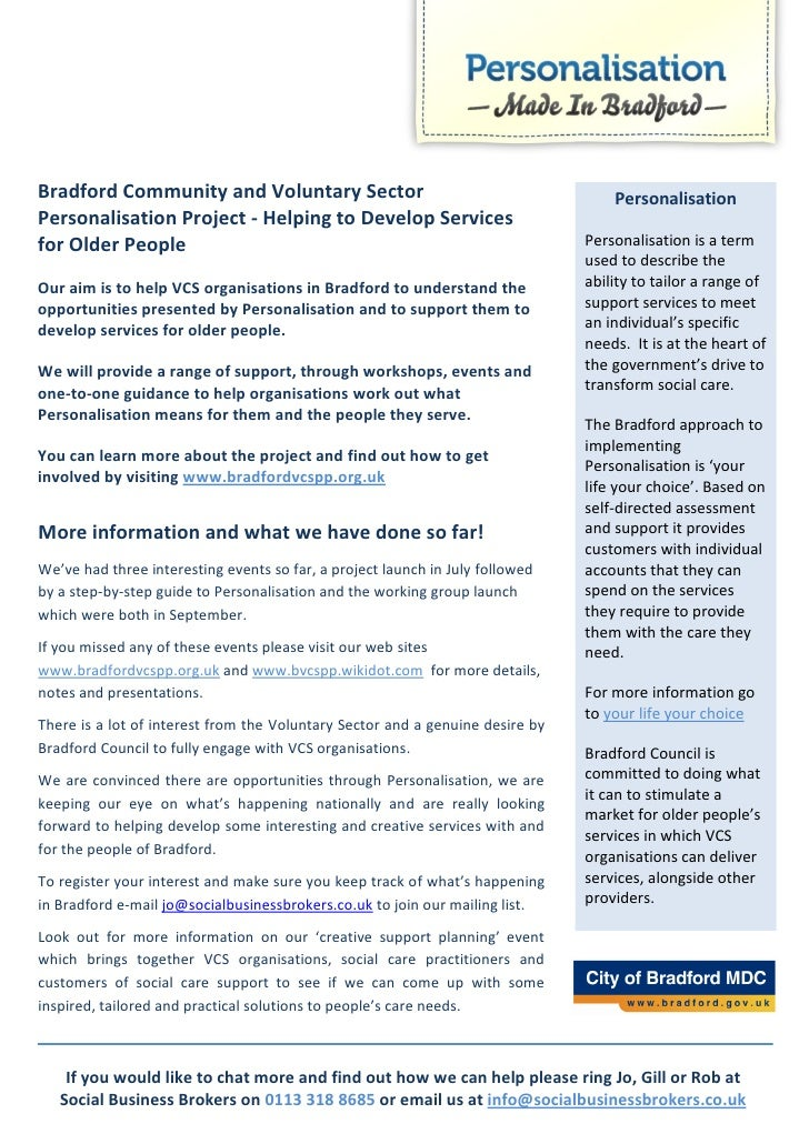 Bradford Community and Voluntary Sector                                            Personalisation Personalisation Project...