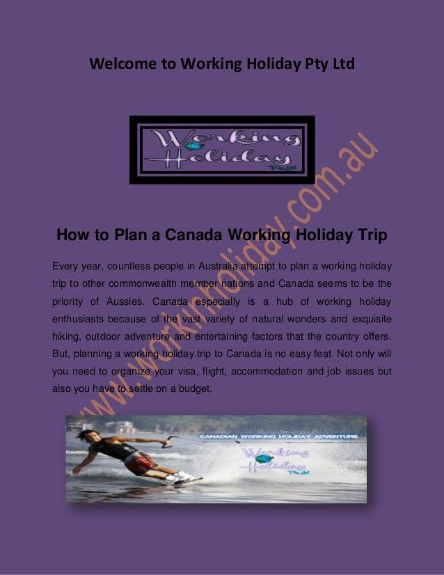 working holidays canada working visa
