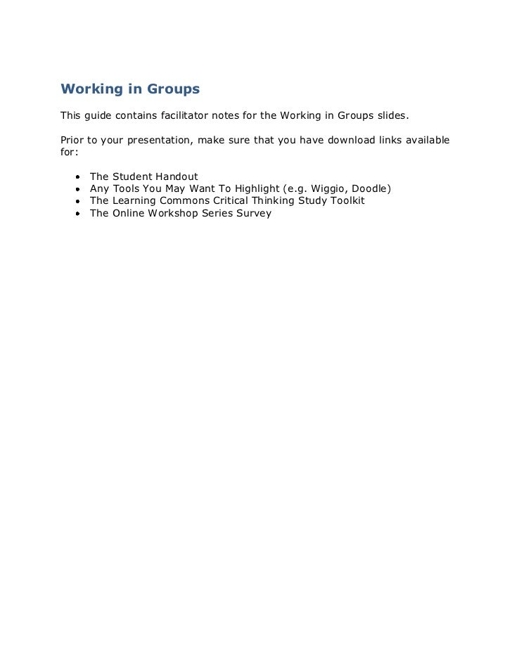 Working in Groups<br />This guide contains facilitator notes for the Working in Groups slides. <br />Prior to your present...