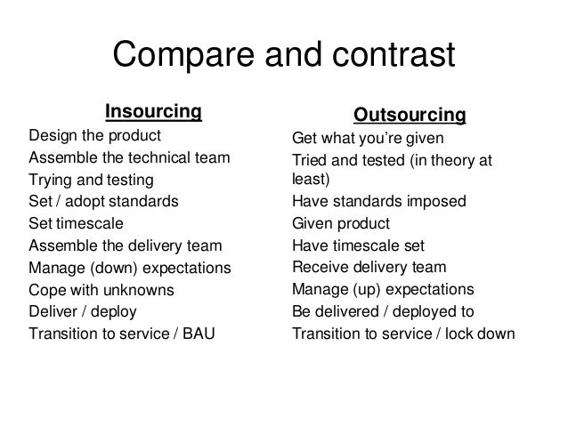 Outsourcing And Insourcing : Working in partnership with suppliers outsourcing vs