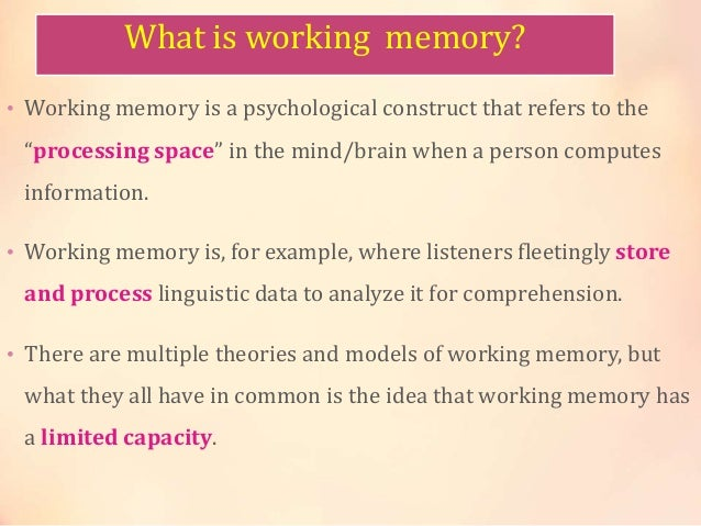 What Is Working Memory >> Working Memory