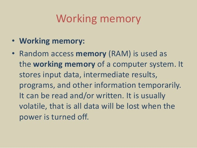 What Is Working Memory >> Working Memory In Computer