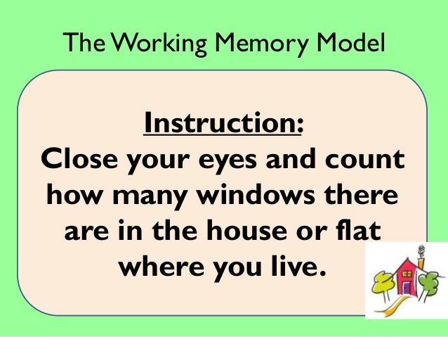 working model of memory essay The atkinson-shiffrin model was created in 1968 and attempted to simplify the working of the human memory by stating it had three course-material, papers.