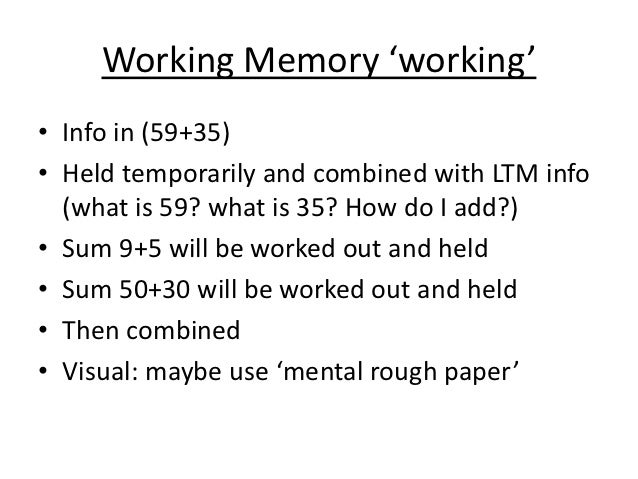 'outline and evaluate the working memory The working memory model is the part of the short term memory which is governed by the 'central executive which monitors and coordinates the operation of the store systems phonological loop and visuo – spatial sketchpad.