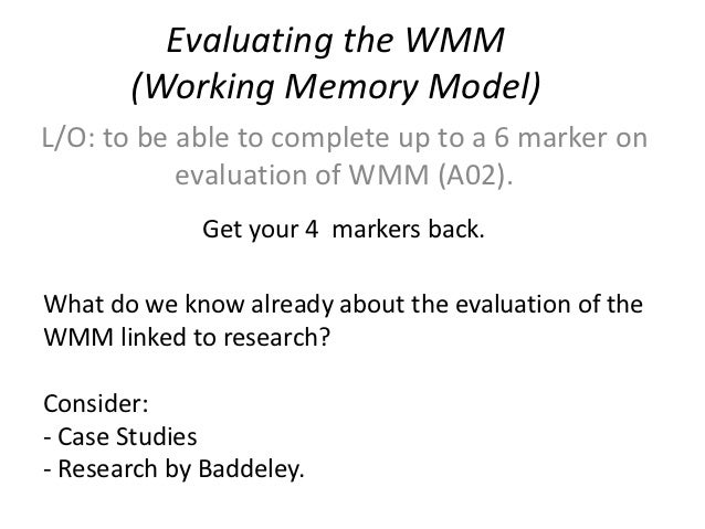outline and evaluate wmm Describe and evaluate the use of the cognitive interview to improve the accuracy of ewt including supporting research from kohnken (wmm) central executive phonological loop visuo-spatial sketchpad episodic buffer explanations for forgetting.
